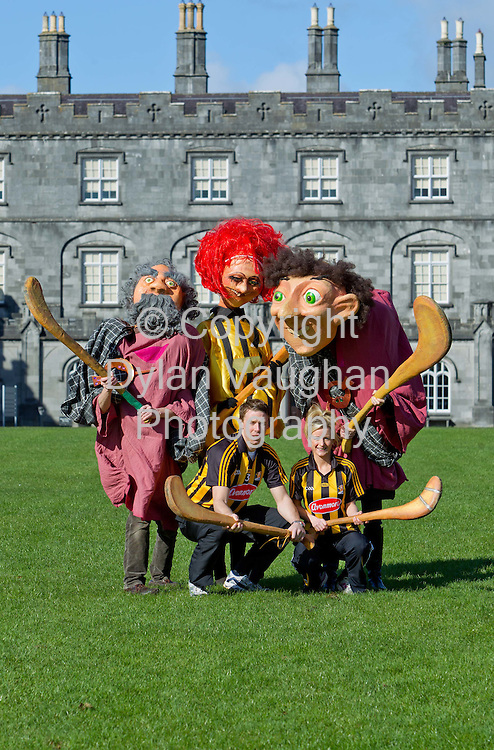 4/3/2012.No Charge for media Repro...Pictured at the launch of the St Patricks Weekend.A Celebration of Kilkennys Gaelic Games, Heritage and Spirit at Kilkenny Castle yesterday was Kilkenny Hurling Captain Brian Hogan and Kilkenny Camoige Captain Catherine Doherty....Kilkenny is the place to be this St Patricks Weekend.A Celebration of Kilkennys Gaelic Games, Heritage and Spirit is the vibrant sporting theme of the St. Patricks Day parade in Kilkenny this year and really is the place to be!  Giant hurleys are stored away in a secret location ready to celebrate the great sense of pride and joy that local GAA giants have brought to Kilkenny people over the years. .Against the dramatic backdrop of Kilkenny Castle the festivities kick off with a fantastic performance by the Notre Dame University Marching Band (The Fighting Irish) at the magnificent Parade Plaza, on Friday 16th March at 11am. The festivities continue there from 12.30am on Saturday 17th March with a pre-festival programme of open air music events where fabulous fare from the Kilkenny Food Trail can be had for spectators on the go.  Kilkenny based  Young Irish Film Makers (YIFM) group will screen an exclusive open air premier of their spirited production My First Confession by Frank OConnor featuring Pauline McGlynn and Paul Spain. Commissioned to commemorate their 20th anniversary this 25 minute film captures aspects of Kilkennys beautiful medieval lane ways filmed nearby the magnificent 13th ct. Black Abbey..Adding to the carnival mood will be feet tapping traditional music from the Whiskey Kings,   followed by dramatic performances from local dance troops. Dorothy and her friends from The Wizard of Oz will follow the Yellow Brick road to the start of the parade after performing some of the favorite songs from the popular musical, performed by local stage school Starlight.  Special guests invited to join the celebrations include Charlie Chaplin, Minnie Mouse, Strong Bow, and some giant sized G