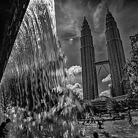 Water park near Petronas Towers in Kuala Lumpur, Malaysia.