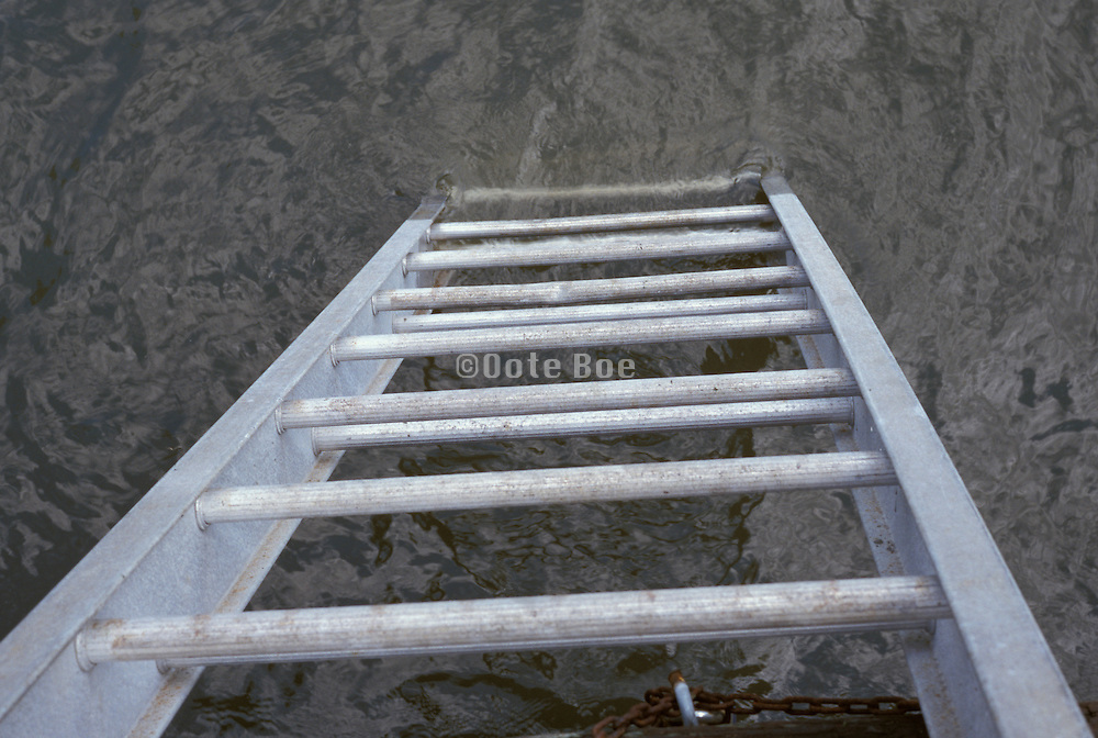 metal ladder leading to water.