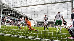 Falkirk's Will Vaulks heads clear. <br /> Falkirk 0 v 3 Hibernian, Scottish Championship game played at The Falkirk Stadium 2/5/2015.