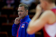 Andrei Voronkov team trainer and head coach from Russia during the 2013 CEV VELUX Volleyball European Championship match between Russia v Slovakia at Ergo Arena in Gdansk on September 24, 2013.<br /> <br /> Poland, Gdansk, September 24, 2013<br /> <br /> Picture also available in RAW (NEF) or TIFF format on special request.<br /> <br /> For editorial use only. Any commercial or promotional use requires permission.<br /> <br /> Mandatory credit:<br /> Photo by © Adam Nurkiewicz / Mediasport