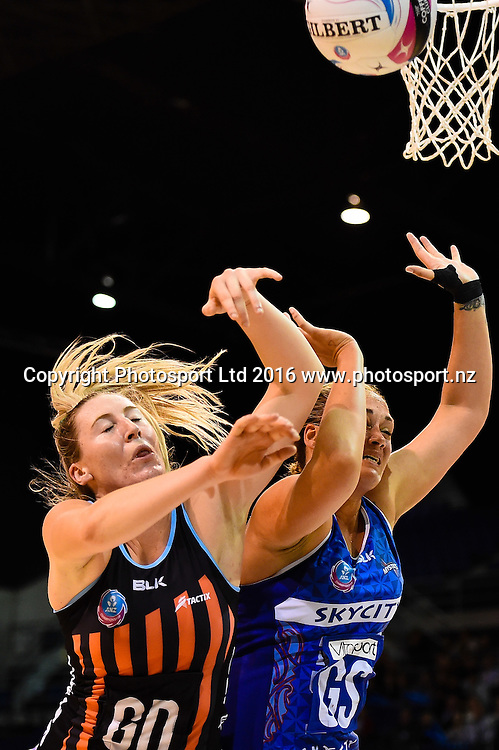 Cathrine Tuivaiti of the Mystics and Zoe Walker of the Tactix fight for the ball during the ANZ Championship netball game Canterbury Tactixs V Northern Mystics at  Horncastle Arena, Christchurch, New Zealand. 25th April 2016. Copyright Photo: John Davidson / www.photosport.nz