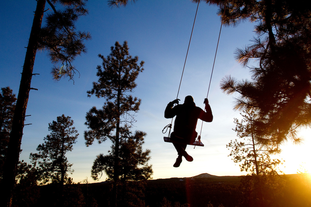 Tree swing in the hills.<br />