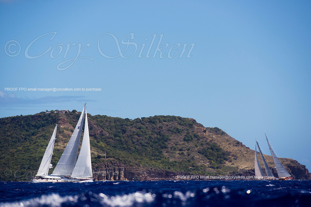 Timoneer and Adela sailing in the Antigua Superyacht Challenge, day two.