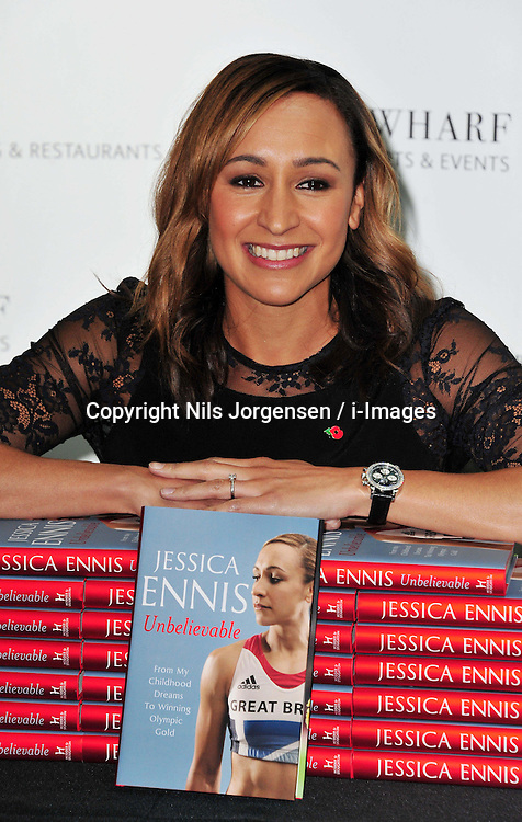 Jessica Ennis book signing at Waterstones, Canary Wharf, London, UK, November 9, 2012. Photo by Nils Jorgensen / i-Images.<br />