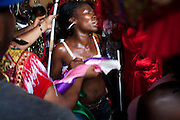 Dominican Republic: A dancer is possessed by spirits part of the GaGá  procession of El GaGá de San Luis....