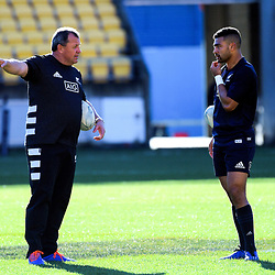 All Blacks assistant coach Ian Foster talks to Richie Mo'unga during the Rugby Championship New Zealand All Blacks captain's run training session at Westpac Stadium in Wellington, New Zealand on Friday, 26 July 2019. Photo: Dave Lintott / lintottphoto.co.nz
