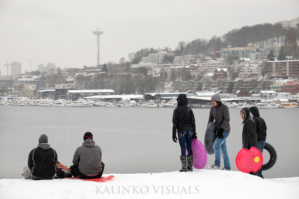 """01192012- Seattleites take part in sledding as they stand on top of a hill at Gasworks Park in Seattle, Wash., on Seattle's """"snowmageddon"""" day 2."""