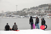 "01192012- Seattleites take part in sledding as they stand on top of a hill at Gasworks Park in Seattle, Wash., on Seattle's ""snowmageddon"" day 2."
