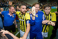 ARNHEM, Vitesse - SC Heerenveen 5-2, voetbal, playoff Europa League, seizoen 2014-2015, 31-05-2015, Stadion de Gelredome, Vitesse speelt volgend seizoen in de Europa League, Vitesse speler Guram Kashia (M), Vitesse speler Jan-Arie van der Heijden (R).
