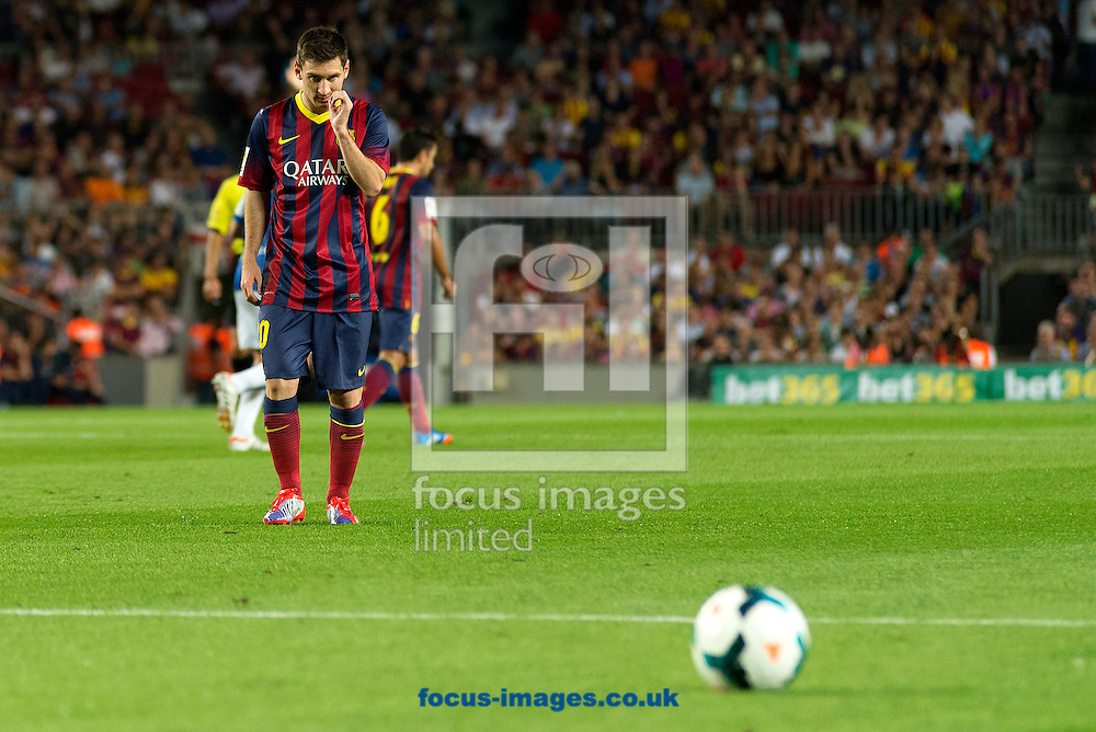Picture by Cristian Trujillo/Focus Images Ltd +34 64958 5571<br /> 24/09/2013<br /> Lionel Messi of FC Barcelona looking the ball during the La Liga match at Camp Nou, Barcelona.