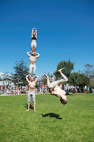19/07/2016 Repro free: <br /> A Simple Space performers Martin Schreiber , Jacob Randell  and Joanne Curry  with Lochlann Harper tumbling turned up in Eyre Sq with a tiny sample of their performance which runs in the Black Box all week at the  Galway International Arts Festival which ends on Sunday.<br /> . Photo:Andrew Downes, xposure