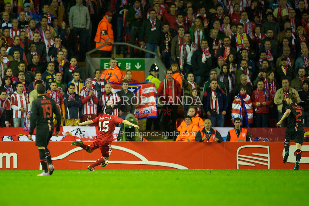 LIVERPOOL, ENGLAND - Thursday, April 29, 2010: Liverpool's Yossi Benayoun scores his side's second goal against Club Atletico de Madrid during Extra Time in the UEFA Europa League Semi-Final 2nd Leg match at Anfield. (Photo by: David Rawcliffe/Propaganda)