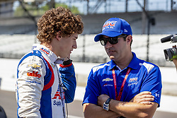 May 25, 2018 - Indianapolis, Indiana, United States of America - MATHEUS LEIST (4) of Brazil talks to team manager, Larry Foyt before he takes to the track for a practice session for the Indianapolis 500 at Indianapolis Motor Speedway in Indianapolis Indiana. (Credit Image: © Walter G Arce Sr Asp Inc/ASP via ZUMA Wire)