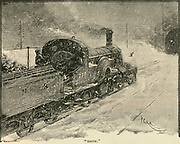 The 'Flying Scotsman' the locomitive of the express railway train between King's Cross station, London and Edinburgh.  Engraving, 1892.