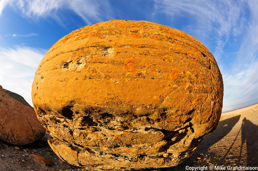 Round sandstone concretion<br /> Red Rock Coulee Natural Preserve<br /> Alberta<br /> Canada
