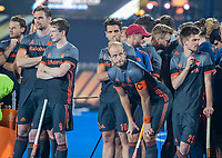 BHUBANESWAR, INDIA -  Teleurstelling bij Oranje  na de verloren shoot outs na  de  finale tussen België en Nederland (0-0)  bij het WK Hockey heren in het Kalinga Stadion. Belgie wint de shoot outs . midden Billy Bakker (Ned) , Valentin Verga (Ned) ,  links Mirco Pruyser (Ned) ,  Seve van Ass (Ned) , rechts Thierry Brinkman (Ned) . COPYRIGHT KOEN SUYK