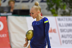 July 28, 2018 - Chieti, Abruzzo, Italy - Junior Rhythmic gymnast Viktoriia Onopriienko of Ukraine performs her ball routine during the Rhythmic Gymnastics pre World Championship Italy-Ukraine-Germany at Palatricalle on 29th of July 2018 in Chieti Italy. (Credit Image: © Franco Romano/NurPhoto via ZUMA Press)
