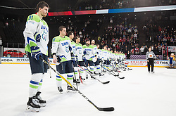 Miha Verlic of Slovenia, Ken Ograjensek of Slovenia look dejected after the 2017 IIHF Men's World Championship group B Ice hockey match between National Teams of Slovenia and Norway, on May 9, 2017 in Accorhotels Arena in Paris, France. Photo by Vid Ponikvar / Sportida