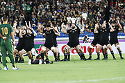 New Zealand Haka during the Japan 2019 Rugby World Cup Pool B match between New Zealand and South Africa at the International Stadium Yokohama in Yokohama on September 21, 2019. Photo Kishimoto / ProSportsImages / DPPI