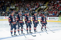 KELOWNA, CANADA - DECEMBER 27: Deven Sideroff #34, Collin Shirley #15, Garrett Pilon #41, Joe Gatenby #37 and Luke Zazula #7 of the Kamloops Blazers line up against the Kelowna Rockets on December 27, 2016 at Prospera Place in Kelowna, British Columbia, Canada.  (Photo by Marissa Baecker/Shoot the Breeze)  *** Local Caption ***