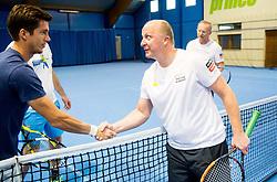 Aljaz Bedene and Matjaz Albreht at event for sponsors of Tenis Slovenija when they are playing tennis with Slovenian men Davis Cup team, on January 25, 2018 in Tennis Centre Breskvar, Ljubljana, Slovenia.  Photo by Vid Ponikvar / Sportida