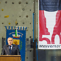 LONGARONE, ITALY - OCTOBER 09:  Ê President of Senato Pietro Grasso speaks during the remembrance for the Vajont victims on October 9, 2013 in Longarone, Italy. Today is the 50th anniversary of the Vajont disaster, which occurred on 9th October 1963, and is the worst landslide disaster in European history with 2000 people killed.  (Photo by Marco Secchi/Getty Images)