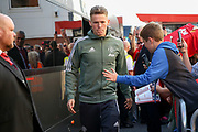 Manchester United Midfielder Scott McTominay arrives off club coach before the Premier League match between Bournemouth and Manchester United at the Vitality Stadium, Bournemouth, England on 18 April 2018. Picture by Phil Duncan.