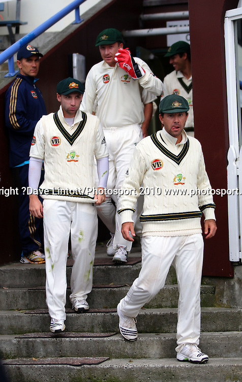 Australian captain Ricky Ponting leads his team back out after bad light delayed play.<br /> 1st cricket test match - New Zealand Black Caps v Australia, day three at the Basin Reserve, Wellington.Sunday, 21 March 2010. Photo: Dave Lintott/PHOTOSPORT