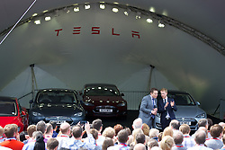 LONDON, ENGLAND - Saturday, June 7, 2014: CEO & Chief Product Architect Elon Musk and Country Director UK & Ireland Georg Ell at the UK launch of Tesla Motors' Model S electric car at the Crystal. (Pic by David Rawcliffe/Propaganda)