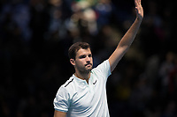 Tennis - 2017 Nitto ATP Finals at The O2 - Day Six<br /> <br /> Group Pete Sampras Singles: Pablo Carreno Busta (Spain) Vs Grigor Dimitrov (Bulgaria)<br /> <br /> Grigor Dimitrov (Bulgaria) acknowledges the fans after winnig easily at the O2 Arena <br /> <br /> COLORSPORT/DANIEL BEARHAM