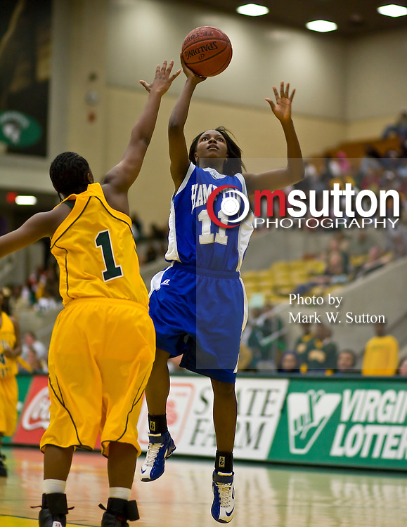 during the Norfolk State - Hampton 2008 MEAC women's basketball game at the Joseph Echols Hall in Norfolk, Virginia.  February 02, 2008  Hampton won 68-51.  (Photo by Mark W. Sutton)