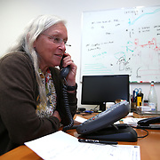 Doctor Peggy Hellweg, a geophysicist at the Berkeley Seismological Laboratory, speaks with the news media about the Napa earthquake and its' aftershocks, from her office in Berkeley, California, on Monday, August 24, 2014.  On Sunday, a 6.1 magnitude earthquake caused significant damage and left three critically injured in California's northern Bay Area early Sunday, igniting fires, sending at least 87 people to a hospital, knocking out power to tens of thousands and sending residents running out of their homes in the darkness. Aftershocks are still being captured across the area by seismometers that are recording seismic data. (AP Photo/Alex Menendez)