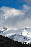 Sunset Amphitheater on Mount Rainier in winter as viewed from the Mount Tahoma Trails cross-country ski trail system.