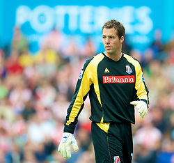 STOKE, ENGLAND - Sunday, September 14, 2008: Stoke City's goalkeeper Thomas Sorensen during the Premiership match against Everton at the Britannia Stadium. (Photo by David Rawcliffe/Propaganda)