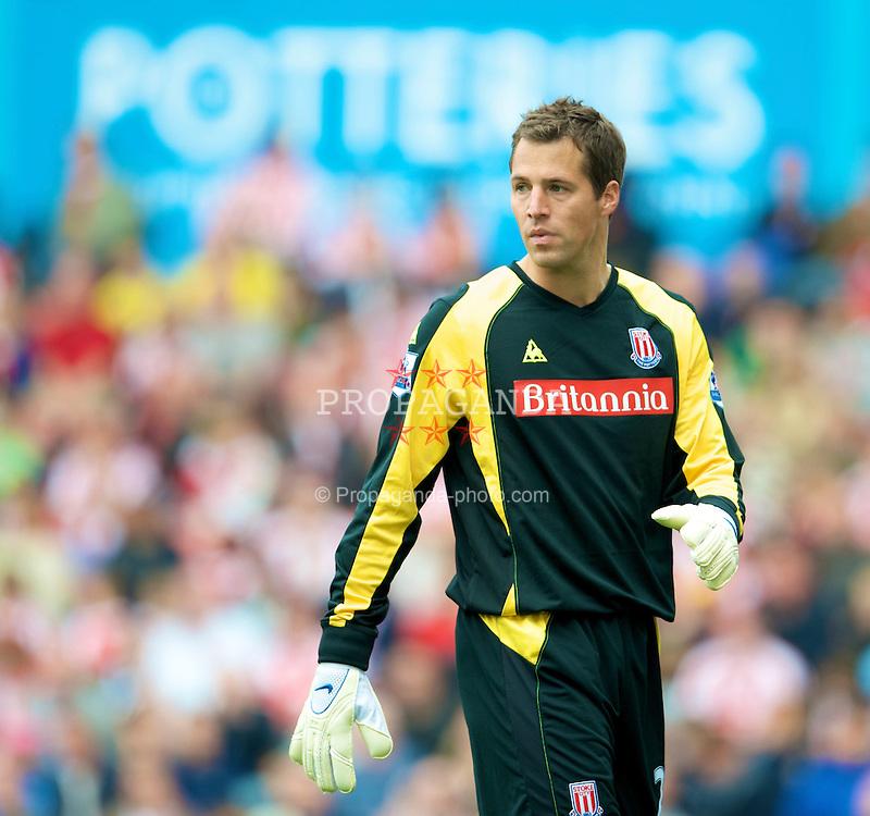 STOKE, ENGLAND - Sunday, September 14, 2008: Stoke City's goalkeeper Thomas Sorensen during the Premiership match against Everton at the Britannia Stadium. (Photo by David Rawcliffe/Propaganda)