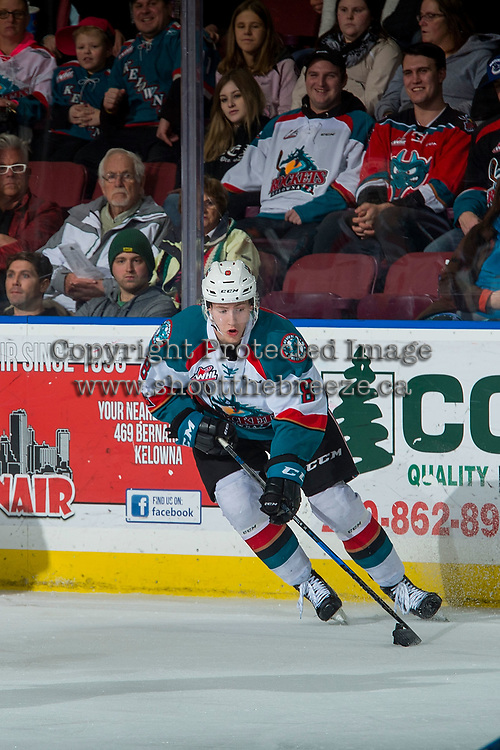 KELOWNA, CANADA - JANUARY 3:Jack Cowell #8 of the Kelowna Rockets skates with the puck against the Tri-City Americans  on January 3, 2017 at Prospera Place in Kelowna, British Columbia, Canada.  (Photo by Marissa Baecker/Shoot the Breeze)  *** Local Caption ***