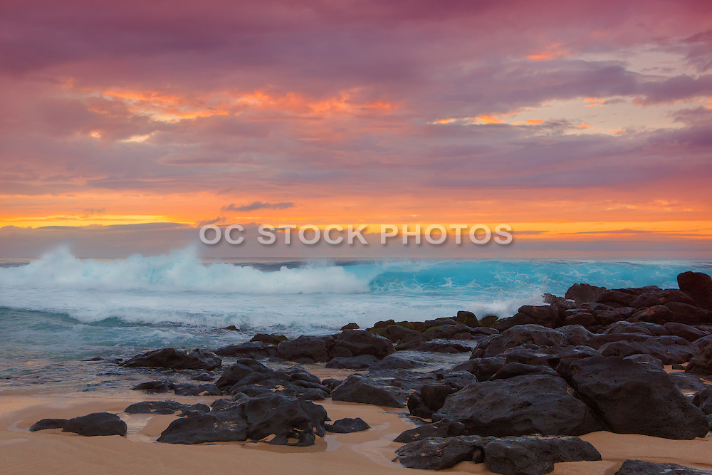 Sunset and Waves on North Shore in Hawaii