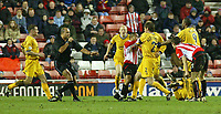 Photo. Andrew Unwin.<br /> Sunderland v Preston North End, Nationwide League Division One, Stadium of Light, Sunderland 11/03/2004.<br /> Sunderland's Jeff Whitley (L of C) pushes Preston's Graham Alexander (R of C), for which he is shown the red card.