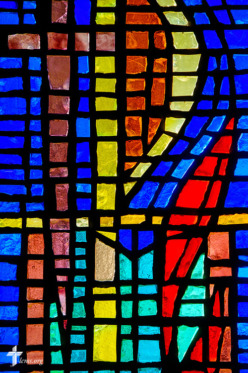 Stained glass depicting Jesus Christ at Faith Lutheran Church on Tuesday, Aug. 1, 2017, in Sioux Falls, SD.  LCMS Communications/Erik M. Lunsford