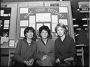 11/01/1985.01/11/1985.11th January 1985.The Aer Lingus Young Scientist Exhibition at the RDS Dublin ..Three students with their exhibit entitled 'Name Your Poison!'