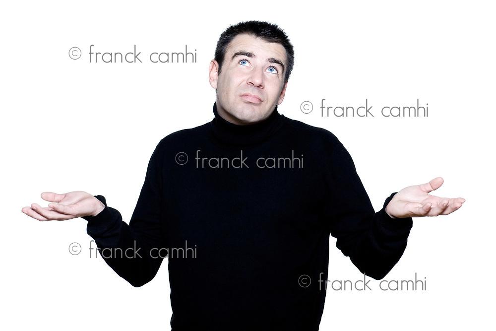 caucasian man portrait shrugging hesitant pucker pouting portrait on studio isolated white background