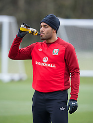 CARDIFF, WALES - Monday, March 25, 2013: Wales' captain Ashley Williams during a training session at the Vale of Glamorgan ahead of the 2014 FIFA World Cup Brazil Qualifying Group A match against Croatia. (Pic by David Rawcliffe/Propaganda)