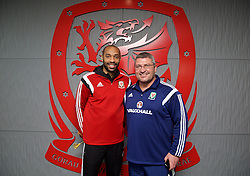 NEWPORT, WALES - Sunday, May 31, 2015: Thierry Henry and Wales' assistant manager Osian Roberts during the Football Association of Wales' National Coaches Conference 2015 at Dragon Park FAW National Development Centre. (Pic by David Rawcliffe/Propaganda)