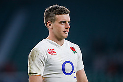 Fly-Half George Ford looks on after England hang on to win the match 25-21 to lift the Triple Crown having beaten Scotland, Ireland and Wales in the 6 Nations - Mandatory byline: Rogan Thomson/JMP - 12/03/2016 - RUGBY UNION - Twickenham Stadium - London, England - England v Wales - RBS 6 Nations 2016.