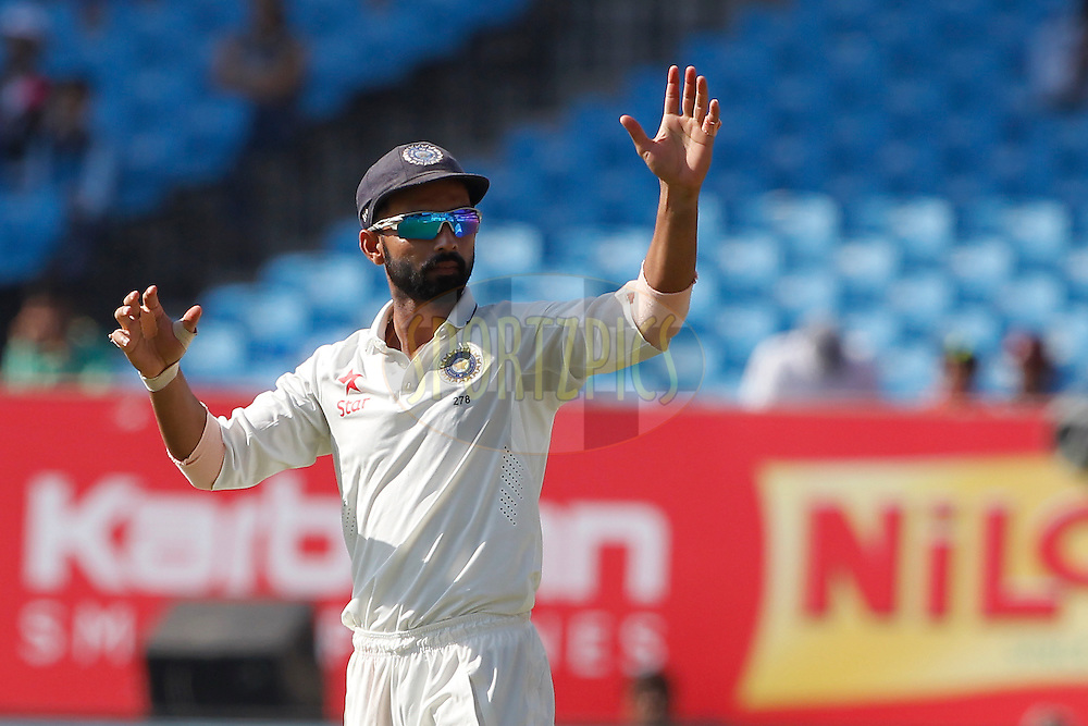 Ajinkya Rahane of India during day 5 of the first test match between India and England held at the Saurashtra Cricket Association Stadium , Rajkot on the 13th November 2016.<br /> <br /> Photo by: Deepak Malik/ BCCI/ SPORTZPICS
