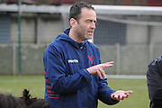 Dean Davenport giving his orders before the deciding shootout during the Women's FA Cup match between Charlton Athletic WFC and Crystal Palace LFC at Sporting Club Thamesmead, Thamesmead, United Kingdom on 8 March 2015. Photo by Michael Hulf.