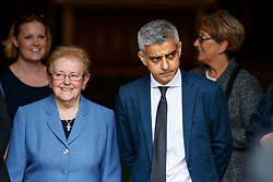 © Licensed to London News Pictures. 29/06/2017. London, UK. Mayor of London SADIQ KHAN attends the funeral of Grenfell fire victim Tony Disson at Our Lady of the Holy Souls RC church in the Notting Hill area of west London on 29 June 2017. Mr Disson is one of only a handful of the 80 victims to have been identified and named so far. Photo credit: Tolga Akmen/LNP