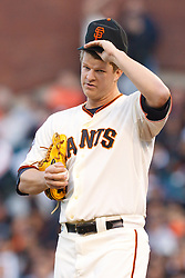 May 24, 2011; San Francisco, CA, USA;  San Francisco Giants starting pitcher Matt Cain (18) stands on the pitchers mound against the Florida Marlins during the third inning at AT&T Park. Florida defeated San Francisco 5-1.