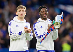 LONDON, ENGLAND - Sunday, February 21, 2016: Chelsea's youth team captain Charlie Colkett and Ola Aina parade the 2015 FA Youth Cup during the FA Cup 5th Round match at Stamford Bridge. (Pic by David Rawcliffe/Propaganda)